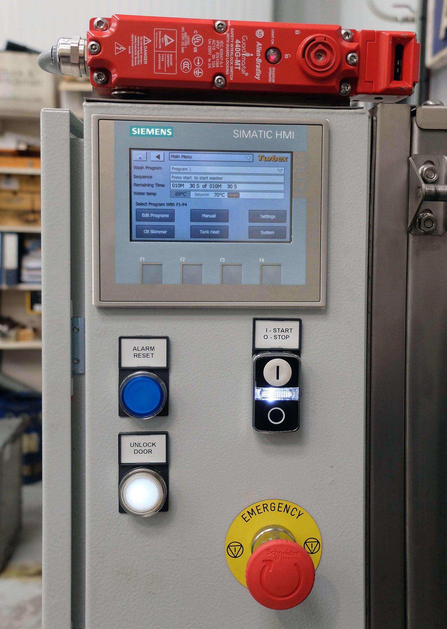 The control panel of the Turbex spray wash machine.